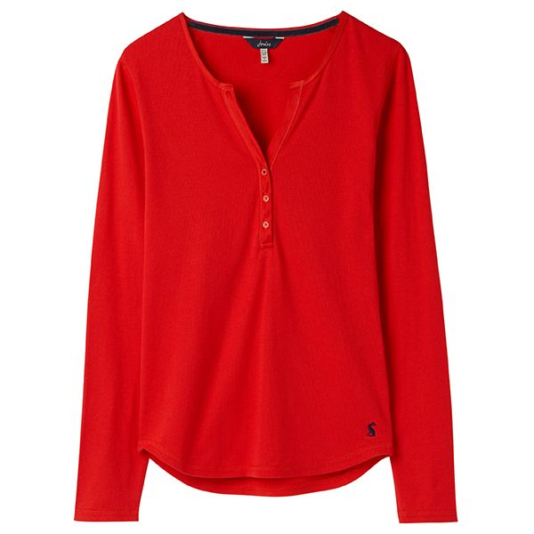 Joules Cici Red Long Sleeve Ribbed Jersey Top