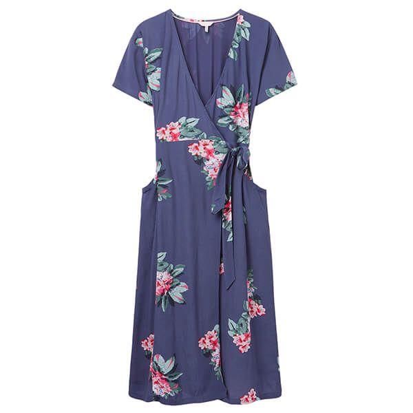 Joules Floral Blue Callie Print Wrap Dress