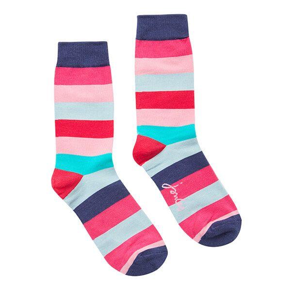 Joules Pink Multi Stripe Brilliant Bamboo Single Socks