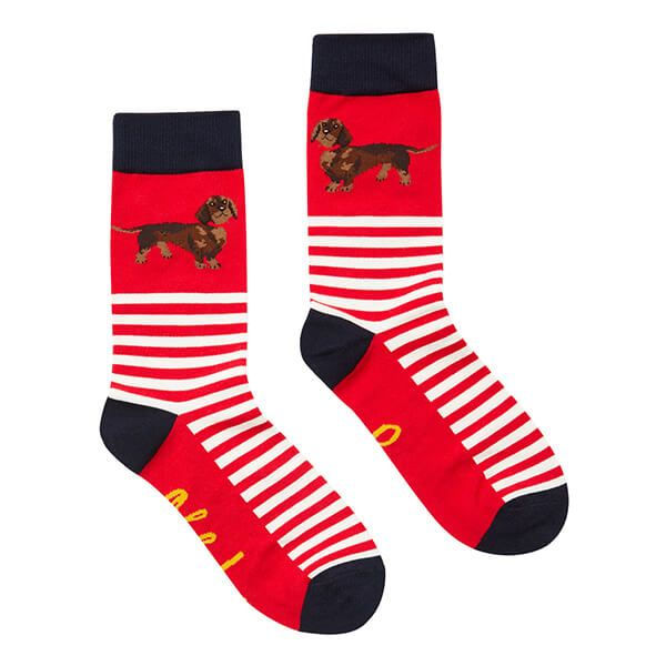 Joules Red Dachshund Brilliant Bamboo Single Socks