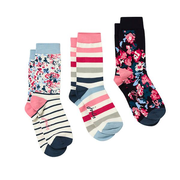 Joules Blue Multi Floral Pack of Three Brilliant Bamboo Socks