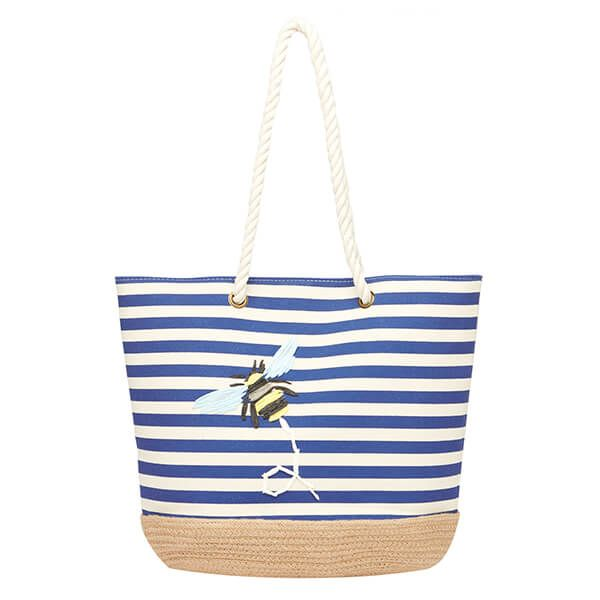 Joules Navy Bee Stripe Tenby Canvas Espadrille Bag