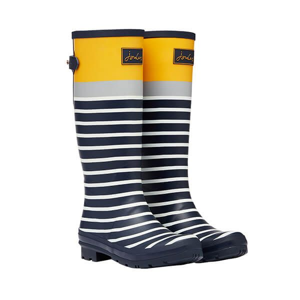 Joules Navy Engineered Stripe Printed Wellies With Back Gusset