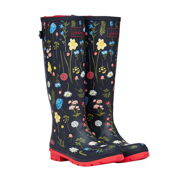 Joules Navy Spring Floral Wellies With Back Gusset