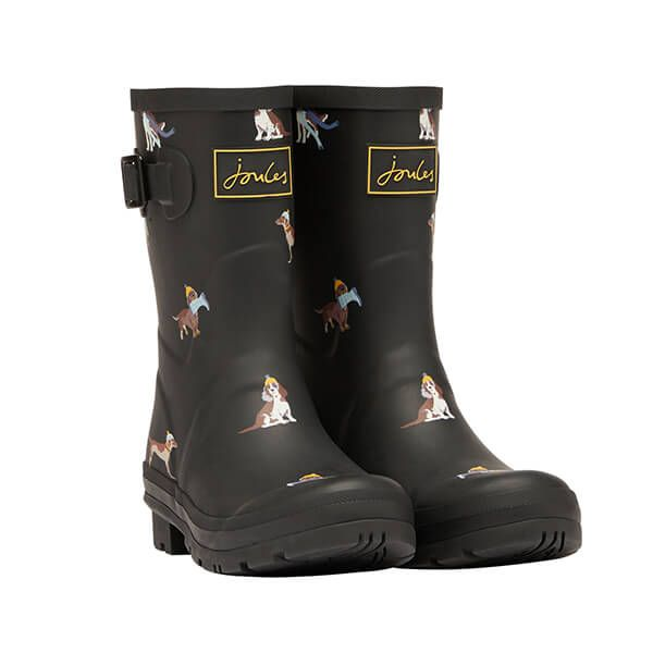 Joules Black Dogs Mid Height Molly Printed Wellies