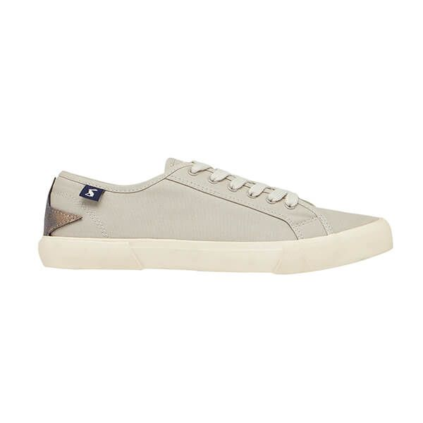 Joules Light Grey Coast Pump Canvas Trainers
