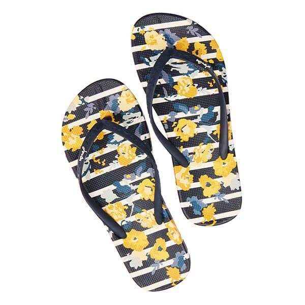 Joules Navy Floral Stripe Flip Flops