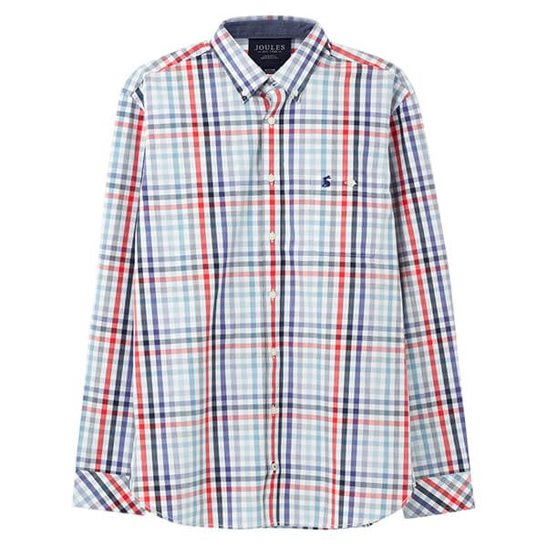 Joules Red Blue Check Hewney Long Sleeve Classic Fit Peached Poplin Shirt