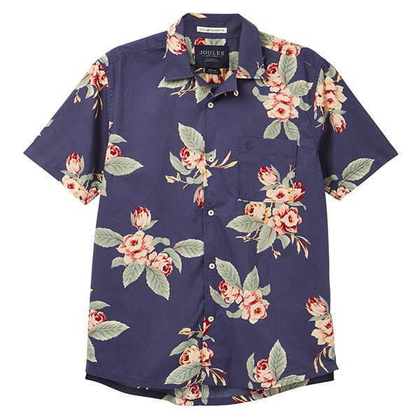 Joules Navy Floral Short Sleeve Revere Collar Printed Shirt
