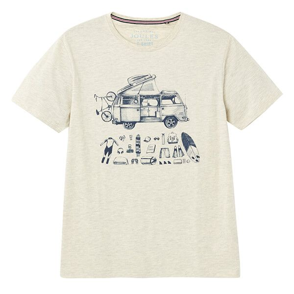 Joules Cream Marl Flynn Graphic Print Crew Neck Tee