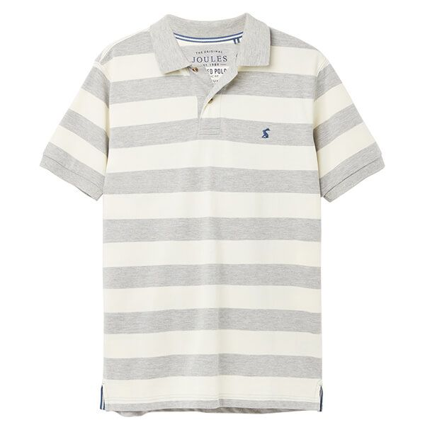 Joules Grey Cream Stripe Filbert Striped Polo Shirt