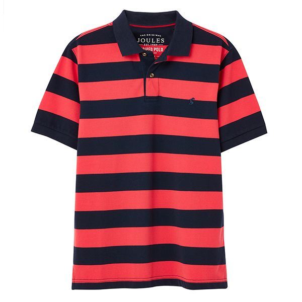 Joules Pink Navy Stripe Filbert Striped Polo Shirt