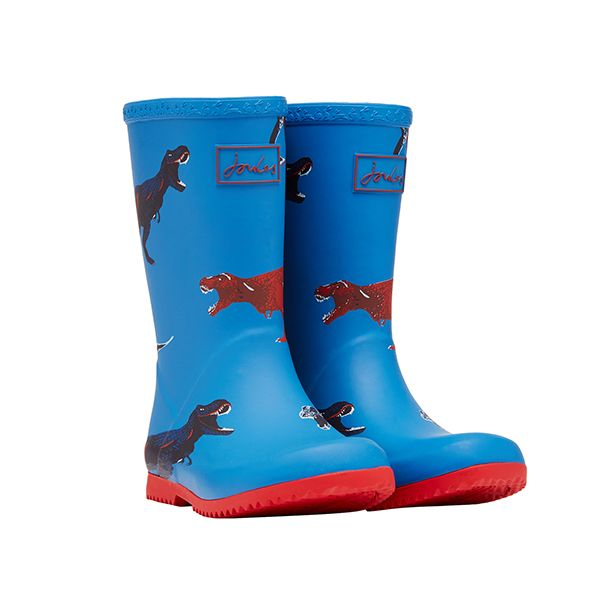 Joules Blue Dinos Junior Roll Up Wellies