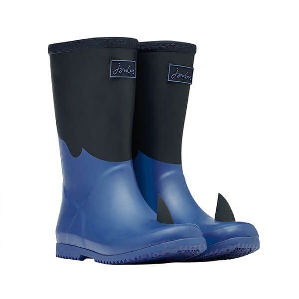 Joules Boys Navy Shark Roll Up Wellies