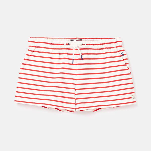 Joules Cream Red Stripe Elle Jersey Stripe Shorts