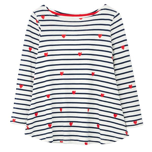 Joules Harbour Light Heart Stripe Print Long Sleeve Jersey Top