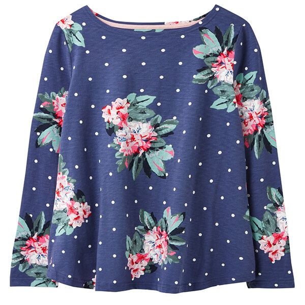 Joules Spot Blue Floral Harbour Light Long Sleeve Jersey Top