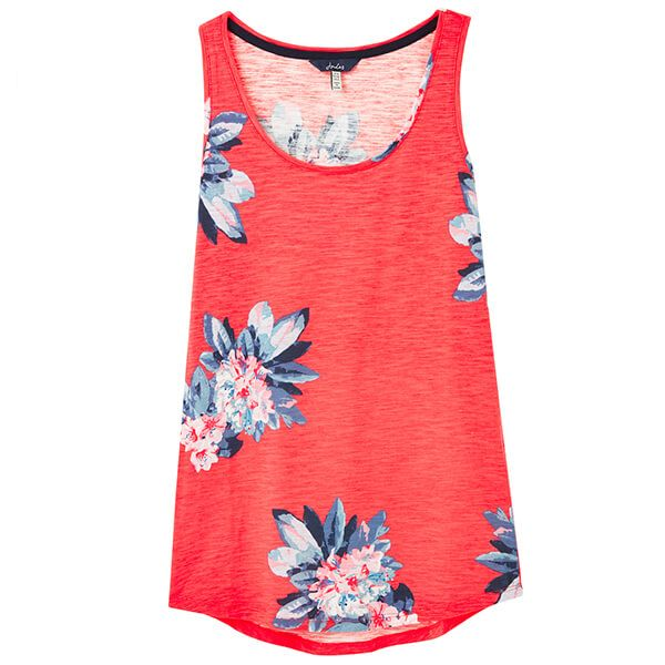 Joules Bo Print Floral Red Jersey Vest