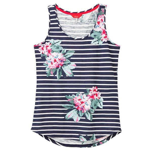 Joules Bo Print Floral Navy Stripe Jersey Vest