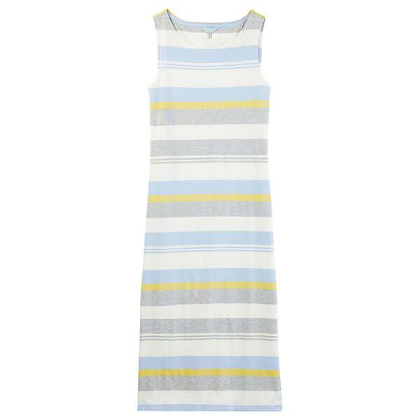 Joules Riva Midi Blue Grey Lemon Stripe Jersey Dress