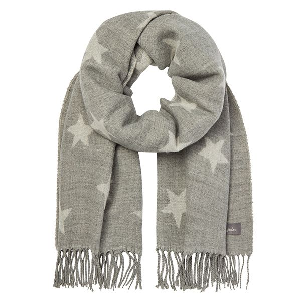 Joules Mardale Grey Star Reversible Scarf