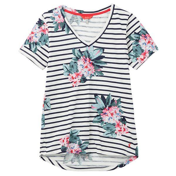 Joules Floral Cream Stripe Celina Print Drapey V Neck Top