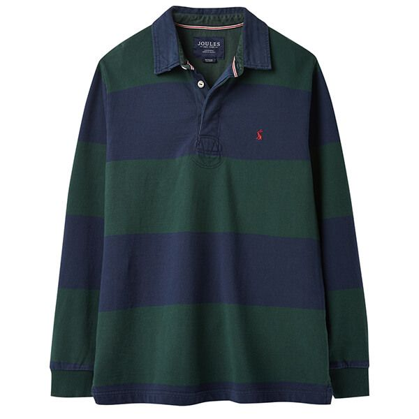 Joules Onside Green Block Stripe Long Sleeve Stripe Rugby Shirt