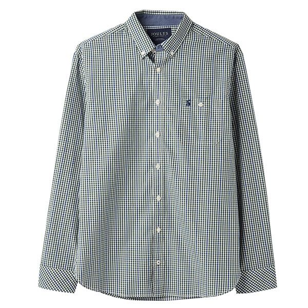 Joules Abbott Green Blue Check Long Sleeve Classic Fit Peached Poplin Shirt