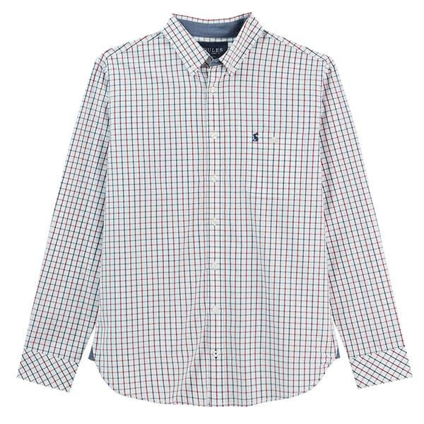 Joules Abbott White Spaced Check Long Sleeve Classic Fit Peached Poplin Shirt