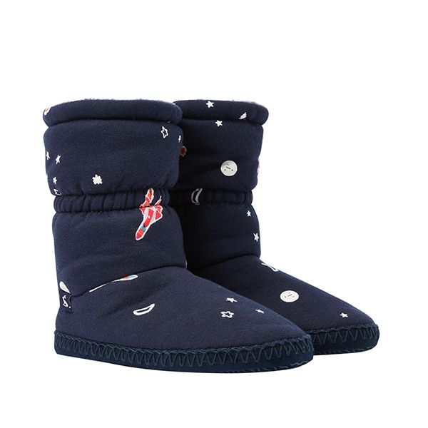 Joules Padabout Junior Navy Rockets Slipper Socks
