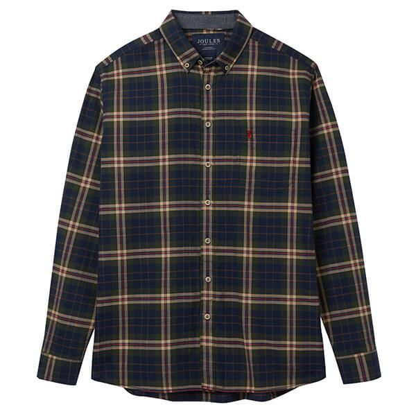 Joules Buchannan Green Navy Check Long Sleeve Classic Fit Peached Poplin Shirt
