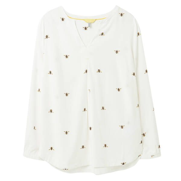 Joules Cream Bee Rosamund V Neck Top