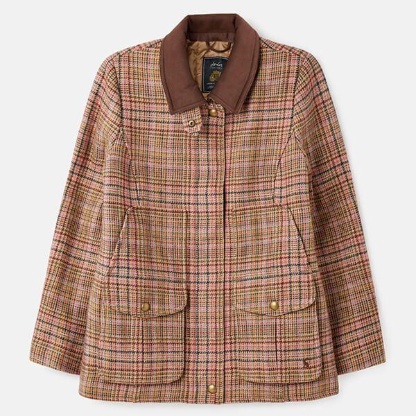 Joules Pink Tweed Fieldcoat Tweed Jacket