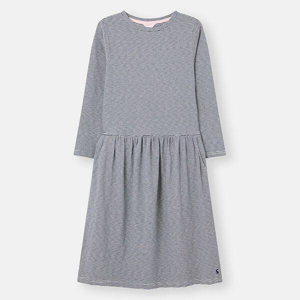 Joules Navy Cream Stripe Bernadette Low Gathered Waist Jersey Dress