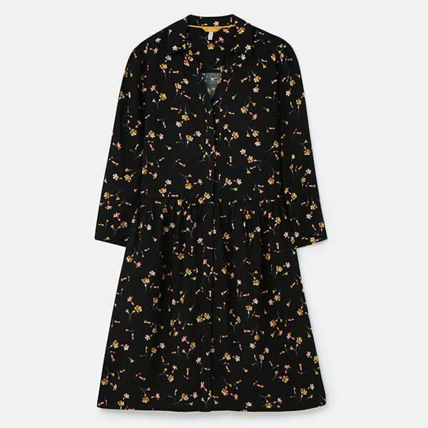 Joules Black Primrose Karis Concealed Placket Shirt Dress