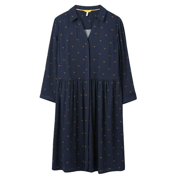 Joules Navy Bee Karis Concealed Placket Shirt Dress