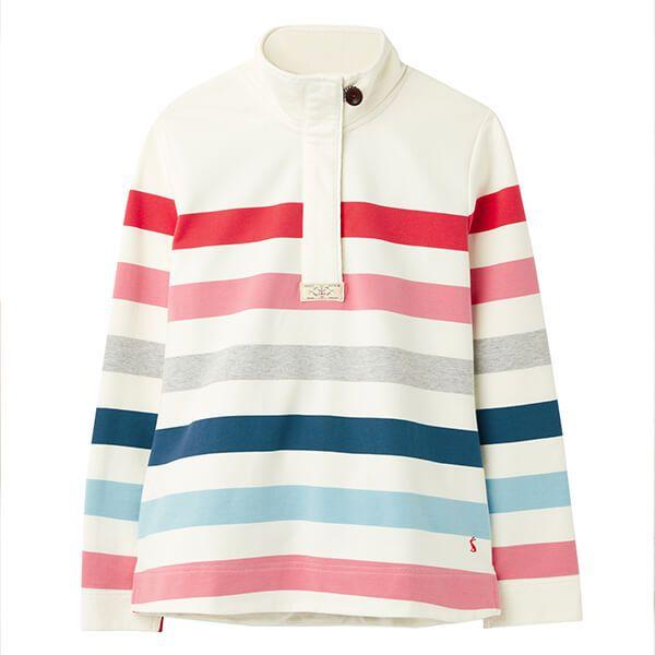 Joules Cream Pink Stripe Saunton Classic Sweatshirt