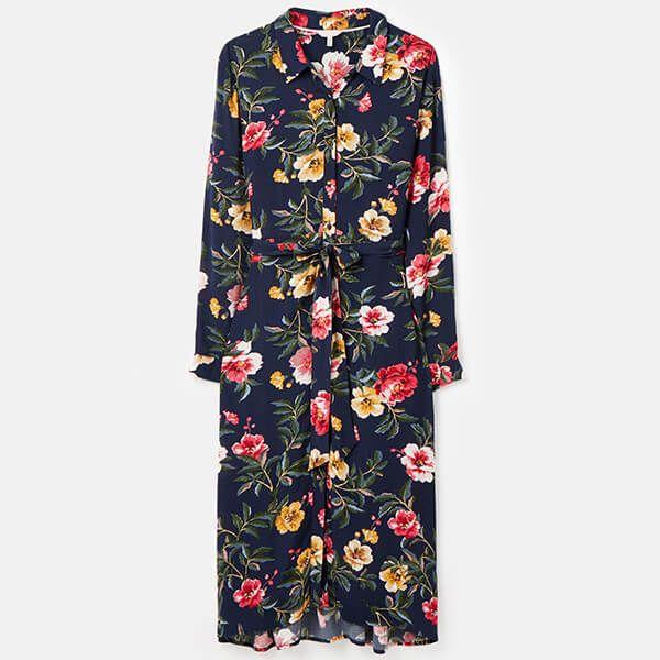 Joules Blue Floral Aurelie A-line Shirt Dress