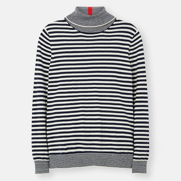 Joules French Navy Stripe Orianna Knitted Roll Neck Jumper
