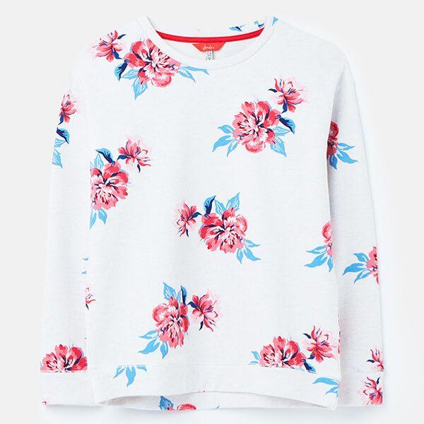 Joules Oat Floral Presley Print Slim Fit Sweat