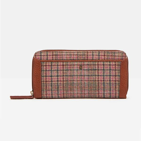 Joules Pink Tweed Fullbrook Tweed Purse