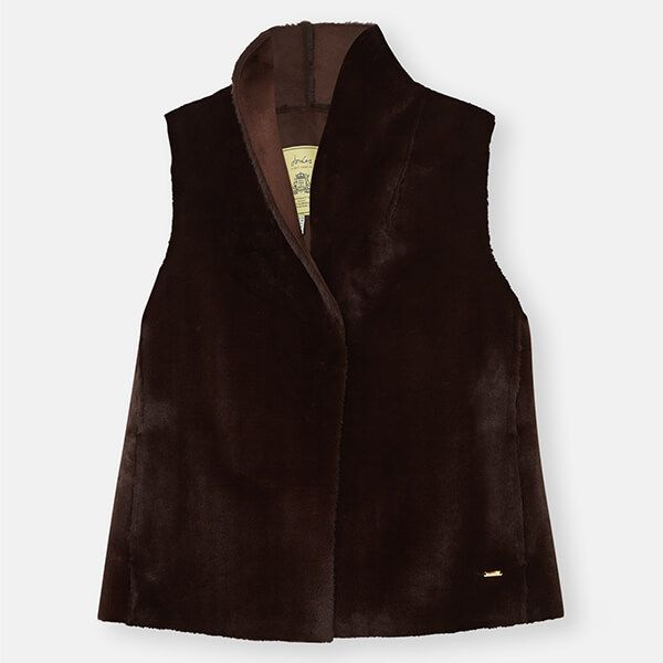 Joules Dark Brown Cheska Faux Fur Gilet