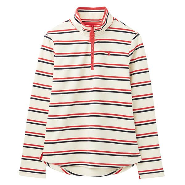 Joules Cream Red Blue Stripe Fairdale Sweatshirt With Zip Neck