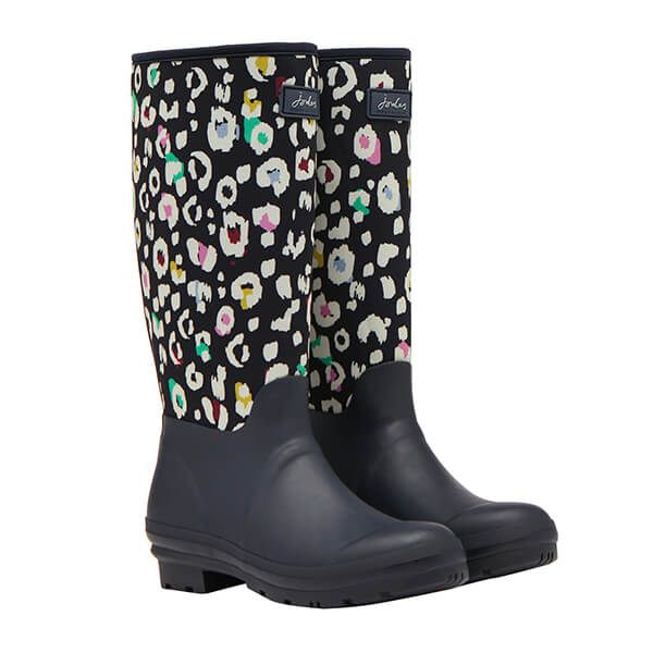Joules Navy Leopard Neoprene Tall Wellies with Printed Neoprene Upper