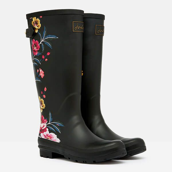 Joules Black Border Floral Printed Wellies with Back Gusset