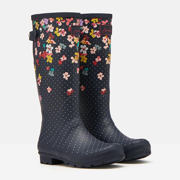 Joules Navy Blossom Printed Wellies with Back Gusset