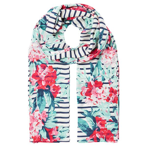 Joules Navy Floral Border Conway Navy Floral Scarf