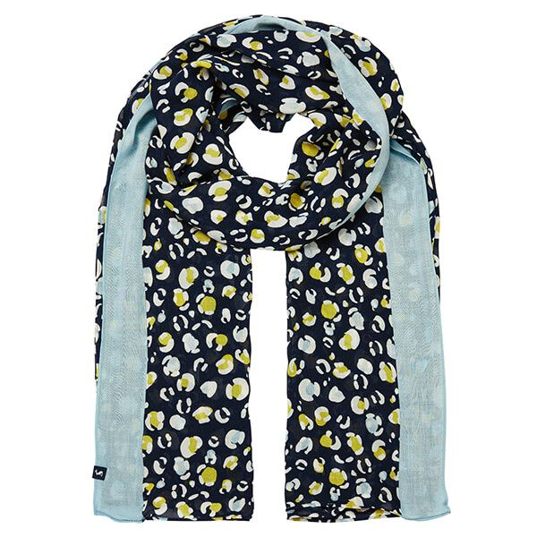 Joules Navy Leopard Conway Rectangle Scarf