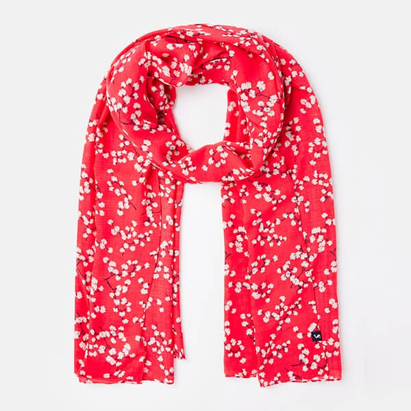 Joules Red Ditsy Conway Rectangle Scarf