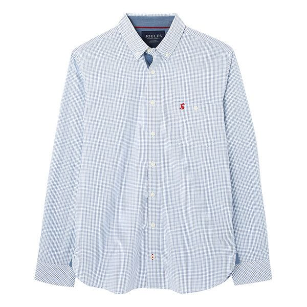 Joules Blue Check Abbott Long Sleeve Classic Fit Peached Poplin Shirt